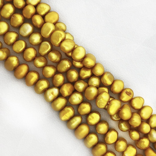 7-7.5mm Citron Fresh Water Pearls, Nugget (1 strand)
