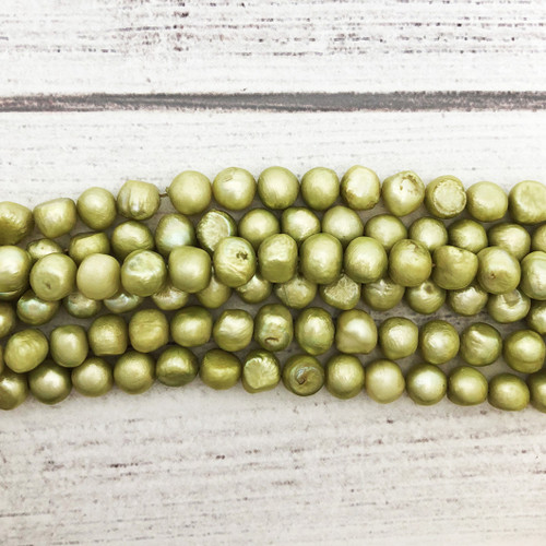8-8.5 Lime Green Fresh Water Pearls, Nuggets 2.5-3mm White Fresh Water Pearls, Seed (1 strand)