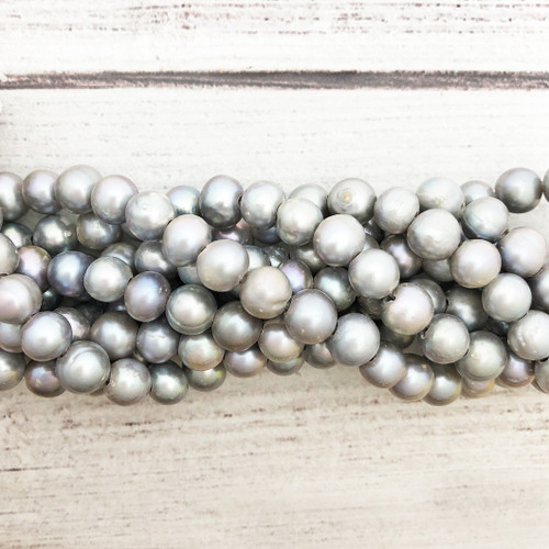 "9mm Silvery Grey Fresh Water Pearls, Big Hole Potato (8"" strand)"