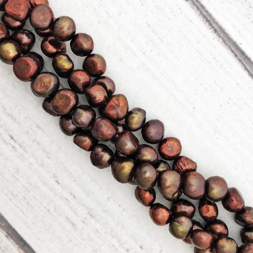 7.5-8mm Russet Fresh Water Pearls, Nugget (1 strand)