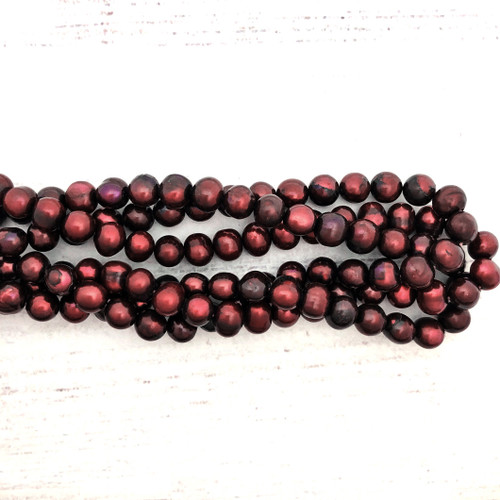 8-8.5mm Russet Fresh Water Pearls, Potato (1 strand)