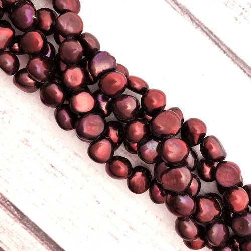 9-10mm Burgundy Fresh Water Pearls, Potato (1 strand)