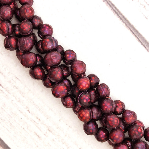 7.5-8mm Burgundy Fresh Water Pearls, Faceted Potato (1 strand)