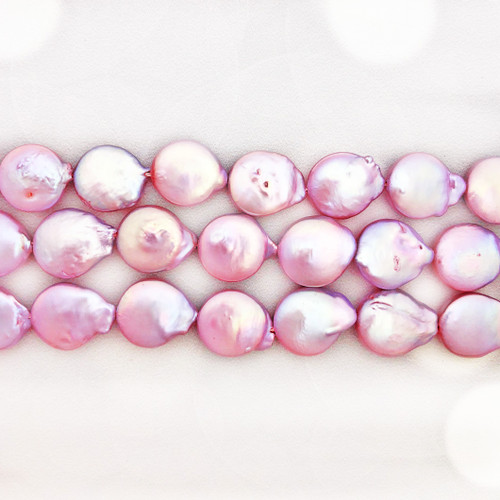 13-14mm Lavender Fresh Water Pearls, Coin (1 strand)