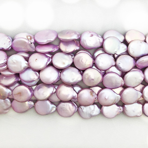 13mm Lavender Fresh Water Pearls, Coin (1 strand)