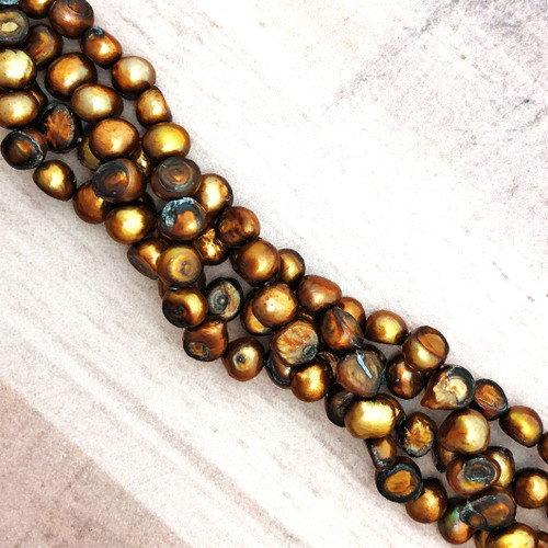 6-6.5mm Brown Fresh Water Pearls, Nugget (1 strand)