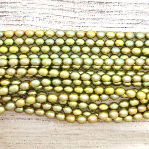 5-5.5mm Chartreuse Fresh Water Pearls, Rice (1 strand)