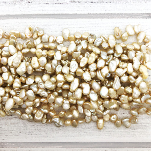5-6mm Cream Fresh Water Pearls, Keshi (1 strand)