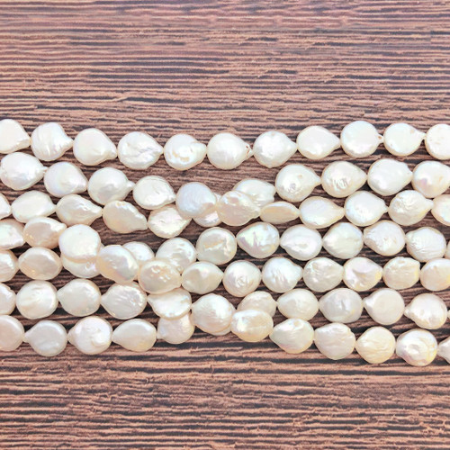 9mm White Fresh Water Pearls, Coin (1 strand )