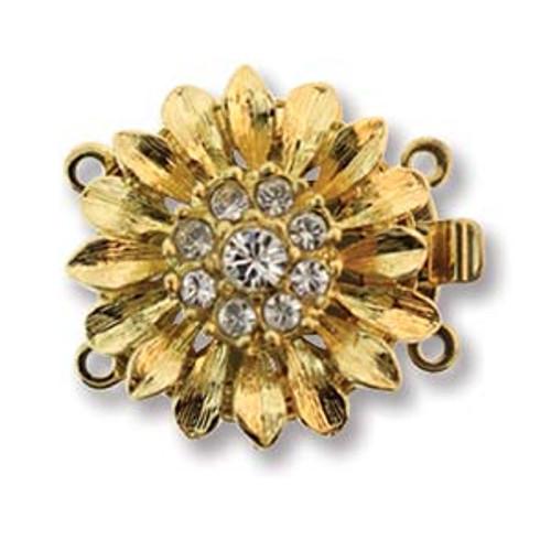 Elegant Elements 2-Strand Flower Clasp, Gold Plated, 19.5mm