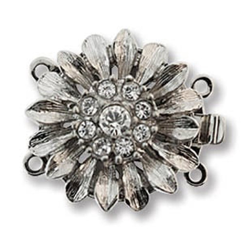 Elegant Elements 2-Strand Flower Clasp, Silver Plated, 19.5mm