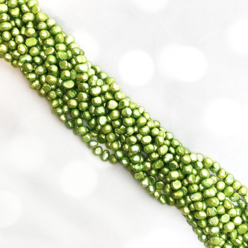 6.5-7mm Bright Spring Green Fresh Water Pearls, Nugget (1 strand)