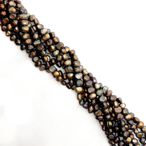 6.5-5mm Brown Fresh Water Pearls, Nugget (1 strand)