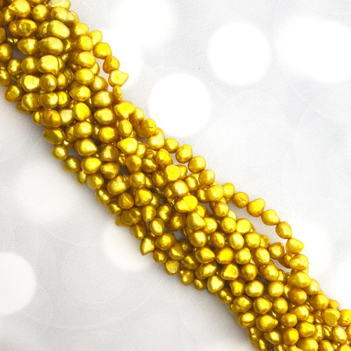 5-6mm Yellow/Gold Fresh Water Pearls, Nugget (1 strand)