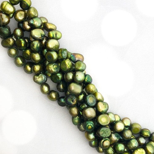 7-8mm Green Fresh Water Pearls, Nugget (1 strand)