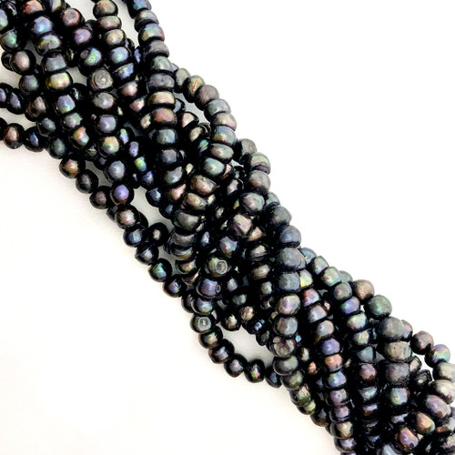 6mm Darkest Grey Fresh Water Pearls, Button (1 strand)