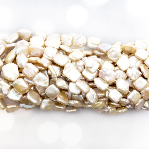 10-11 Cream Fresh Water Pearls, Square Coin (1 strand)