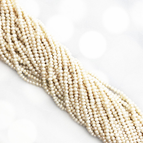 3-3.5mm White Fresh Water Pearls, Seed Pearls (1 strand)
