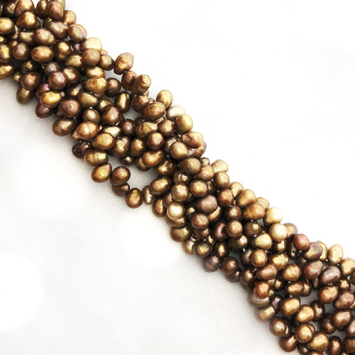 7-8mm Light Bronze Fresh Water Pearls, Top-Drilled Teardrop (1 strand)