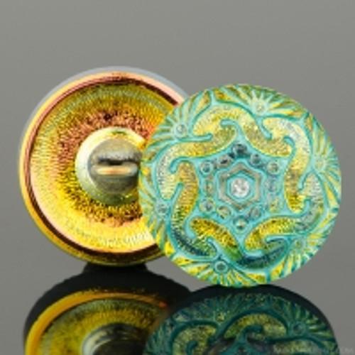 (18mm) Czech Button, Golden Iridescent w/ Turquoise Wash