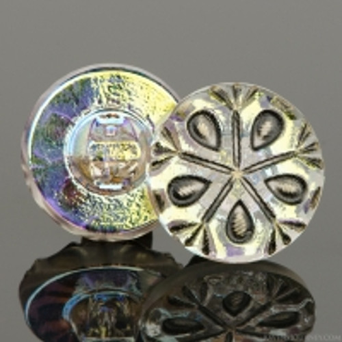(18mm) Snowflake Tablecut Golden AB w/ Antique Finish
