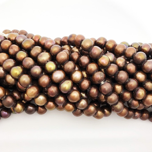 "8-8.5mm Bronze Freshwater Pearls, Big Hole Potato (8"" strand)"