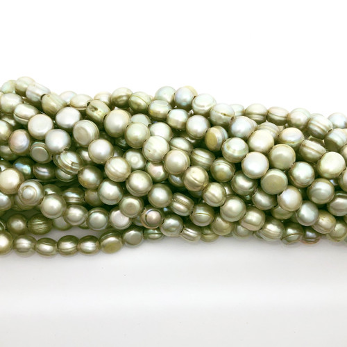 "7.5-8.5mm Celadon Green Freshwater Pearls, Big Hole Potato (8"" strand)"