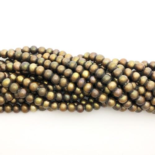 "8mm Metallic Mix Freshwater Pearls, Big Hole Potato (8"" strand)"