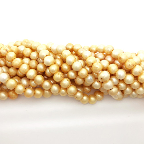 "7.5-8mm Yellow/White Freshwater Pearls, Big Hole Potato (8"" strand)"