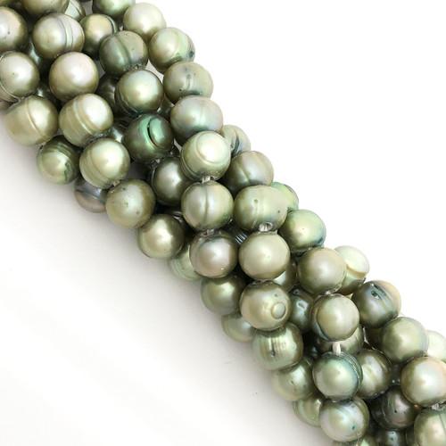 "9-9.5mm Celadon Green Freshwater Pearls, Big Hole Potato (8"" strand)"