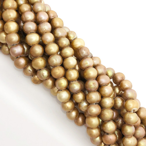 "7.5-8mm Vintage Gold Freshwater Pearls, Big Hole Potato (8"" strand)"