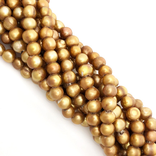 "7-7.5mm Vintage Gold Freshwater Pearls, Big Hole Potato (8"" strand)"