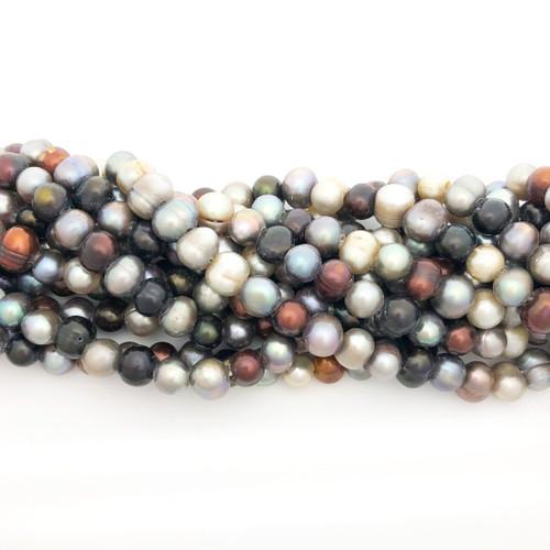 "8-9mm Autumn Mix Freshwater Pearls, Big Hole Potato (8"" strand)"