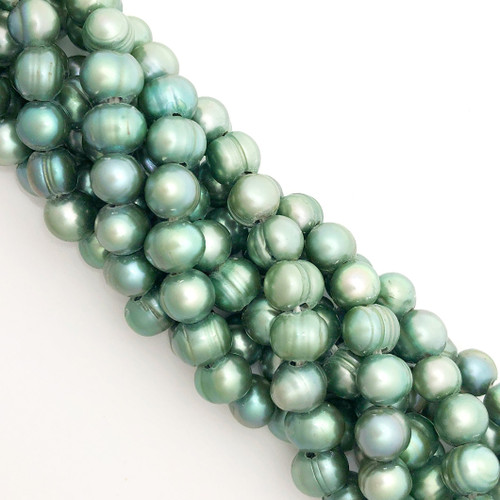 "8.5-9mm Spearmint Freshwater Pearls, Big Hole Potato (8"" strand)"