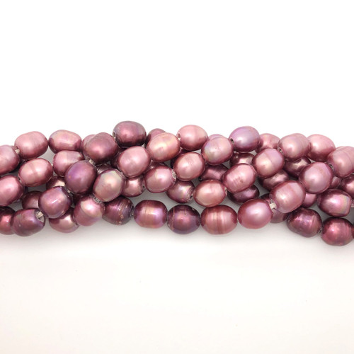 "8-10mm Rose Freshwater Pearls, Big Hole Rice (8"" strand)"