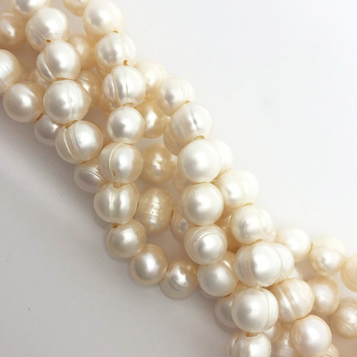 "9-10mm White Freshwater Pearls, Big Hole Potato (8"" strand)"