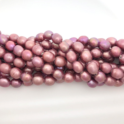 "9x11 Rose Freshwater Pearls, Big Hole Rice (8"" strand)"