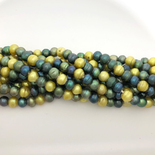 "7.5-8mm Green Mix Freshwater Pearls, Big Hole Potato (8"" strand)"