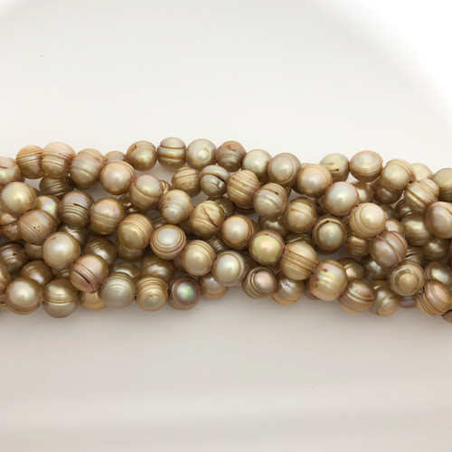 "9.5-10mm Aztec Gold Freshwater Pearls, Big Hole Potato (8"" strand)"