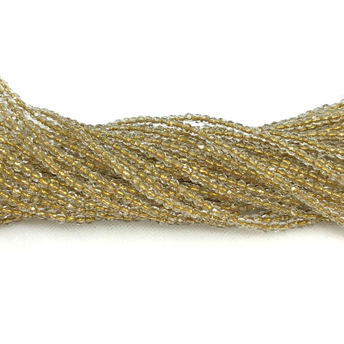 3mm Fire Polish, Crystal Gold-Lined (Qty: 50)