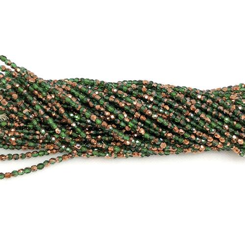 3mm Fire Polish, Transparent Emerald Capri Gold Half-Coat (Qty: 50)