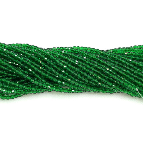 3mm Fire Polish, Transparent Dark Green (Qty: 50)