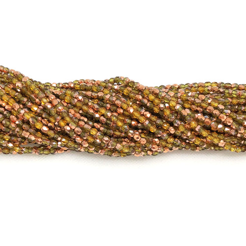 3mm Fire Polish, Transparent Olive Capri Gold Half-Coat (Qty: 50)
