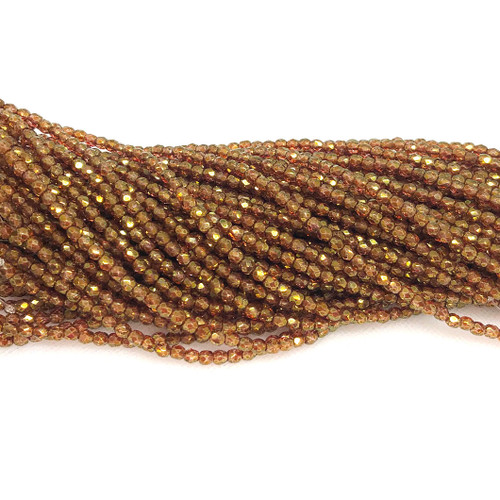 3mm Fire Polish, Crystal Red Gold Luster (Qty: 50)