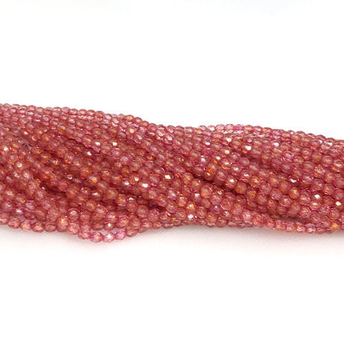 4mm Fire Polish, Crystal Red Marble (Qty: 50)