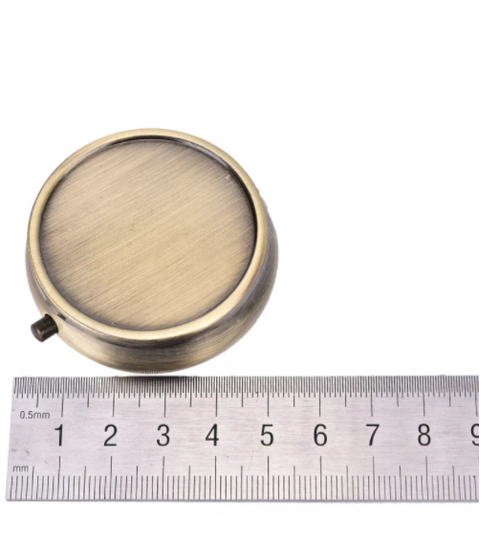 Bronze-Plated 50mm Round Pill Box for Les Perles par Puca patterns (Qty: 1)
