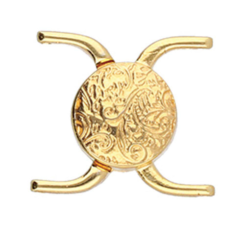 Cymbal Souda ii, 11/0 Magnetic Clasp, 24k Gold-Plated, 15.5 x 17.5mm (Qty: 1)