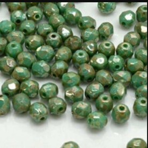 4mm Fire Polish, Green Turquoise Picasso (Qty: 50)