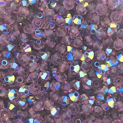 4mm Preciosa Bicones, Amethyst AB (Qty: 50)