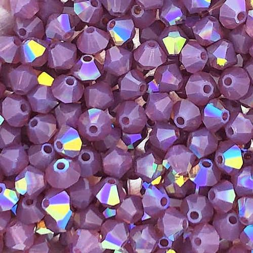 4mm Preciosa Bicones, Amethyst Opal AB (Qty: 50)